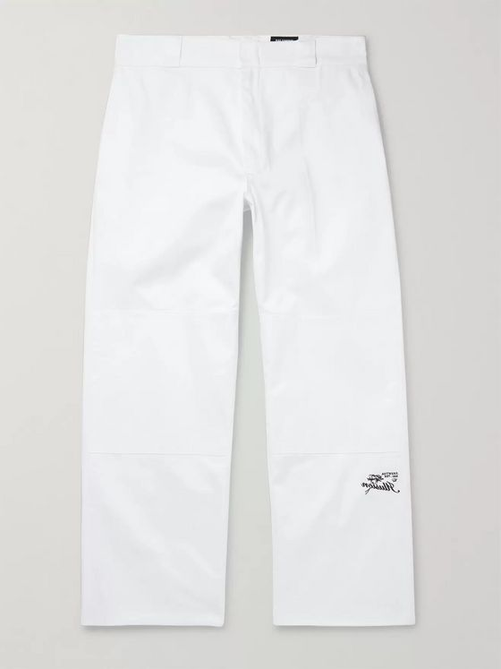 RAF SIMONS Embroidered Cotton-Twill Trousers
