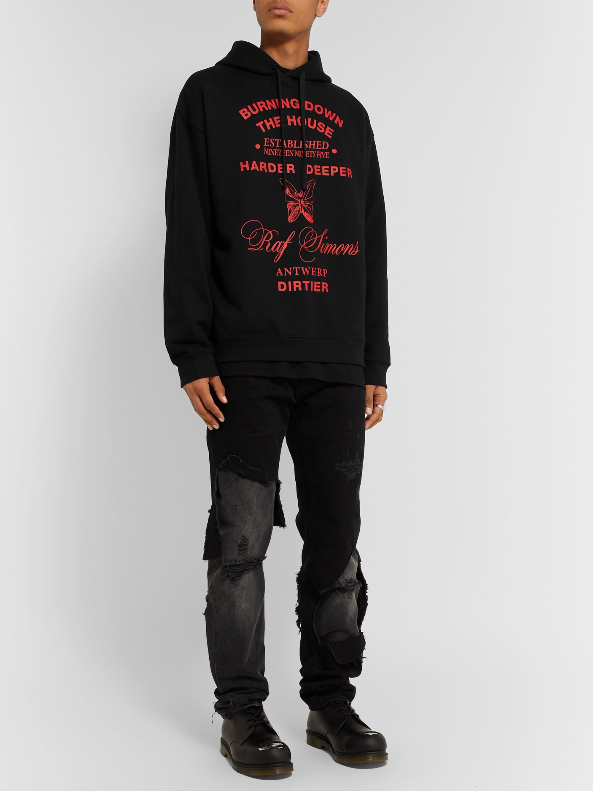 Raf Simons Printed Fleece-Back Cotton-Jersey Hoodie