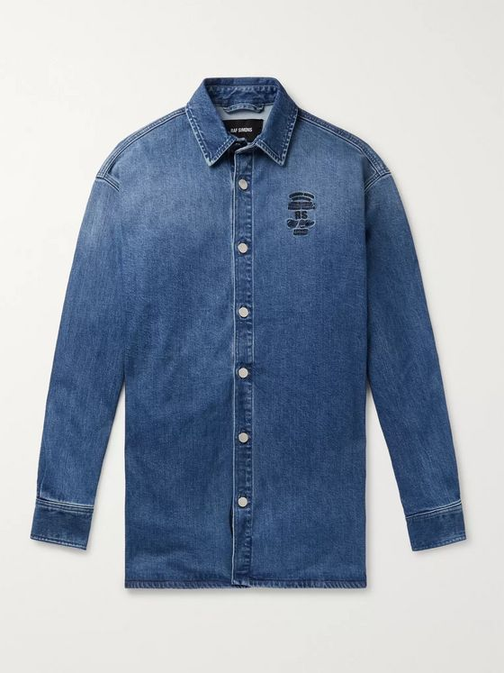 Raf Simons Oversized Logo-Embroidered Denim Shirt