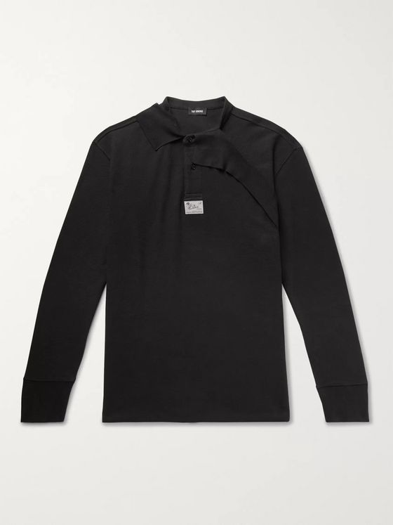 Raf Simons Oversized Layered Cotton-Piqué Polo Shirt