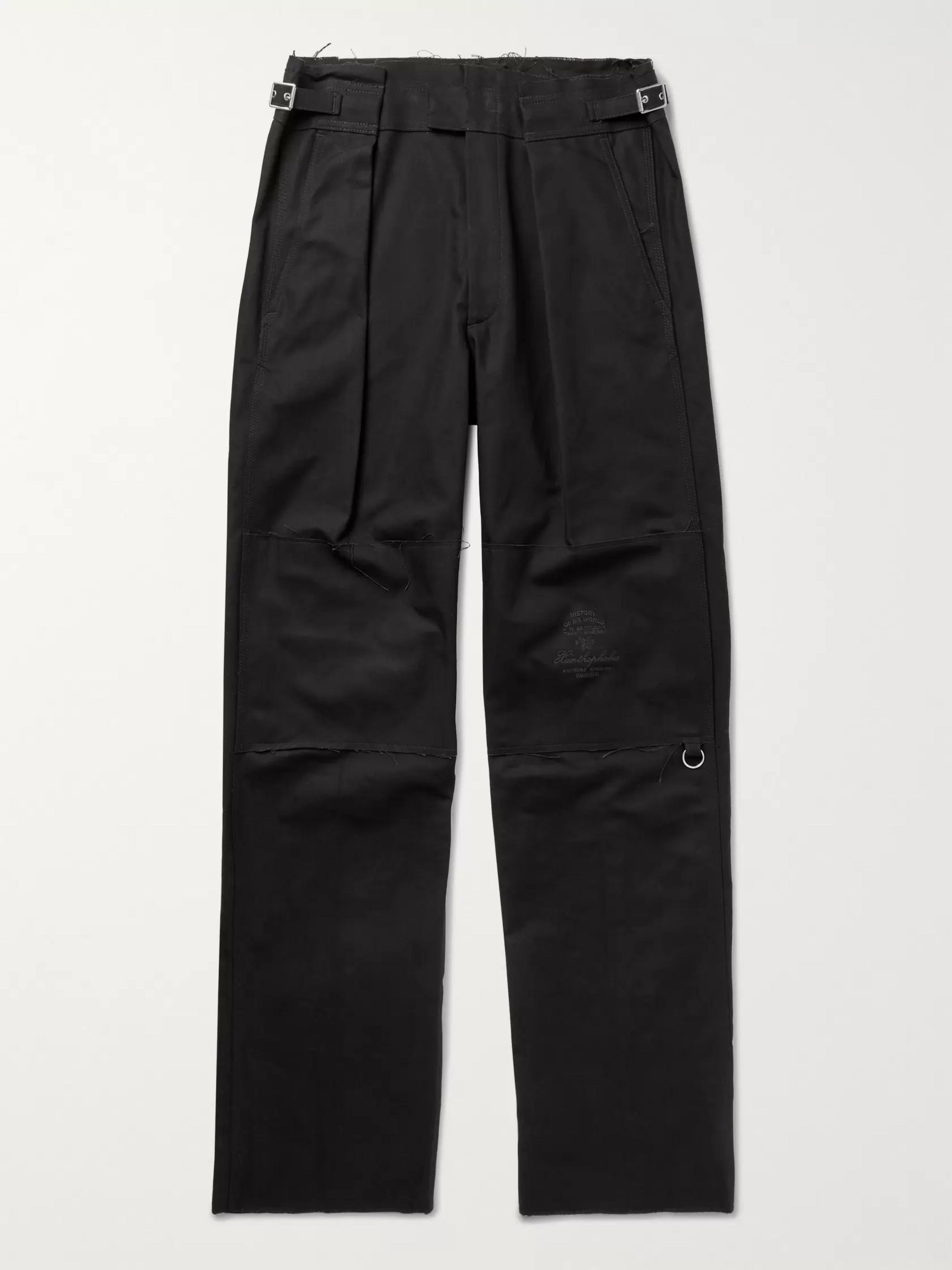 Raf Simons Black Bootcut Embroidered Cotton-Twill Trousers