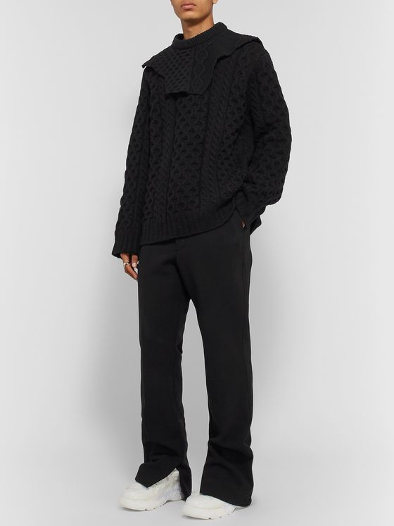 Raf Simons Layered Cable-Knit Virgin Wool Sweater