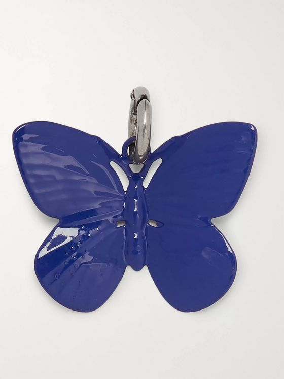 Raf Simons Butterfly Silver-Tone and Enamel Charm