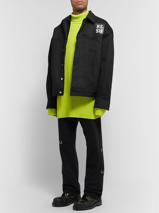 Raf Simons Oversized Logo-Appliquéd Faux Fur-Lined Denim Jacket