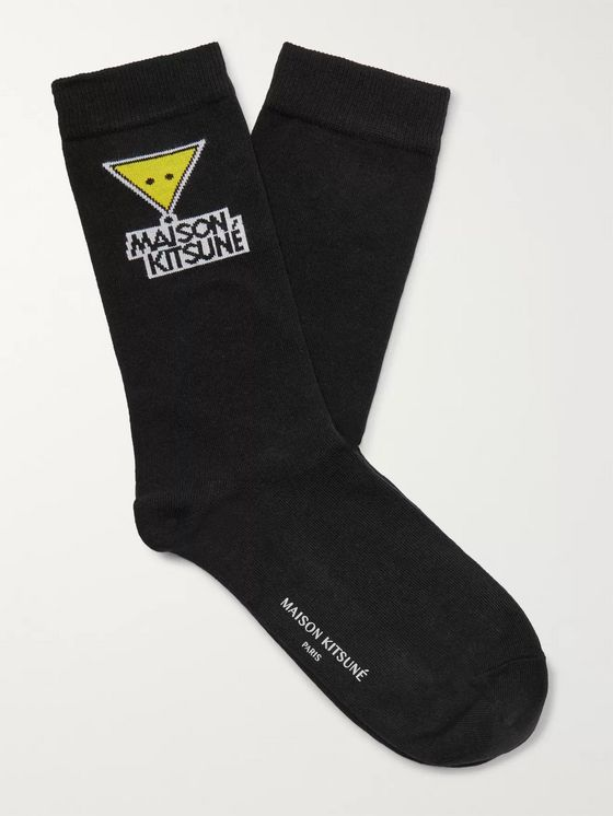 Maison Kitsuné Intarsia Stretch Cotton-Blend Socks