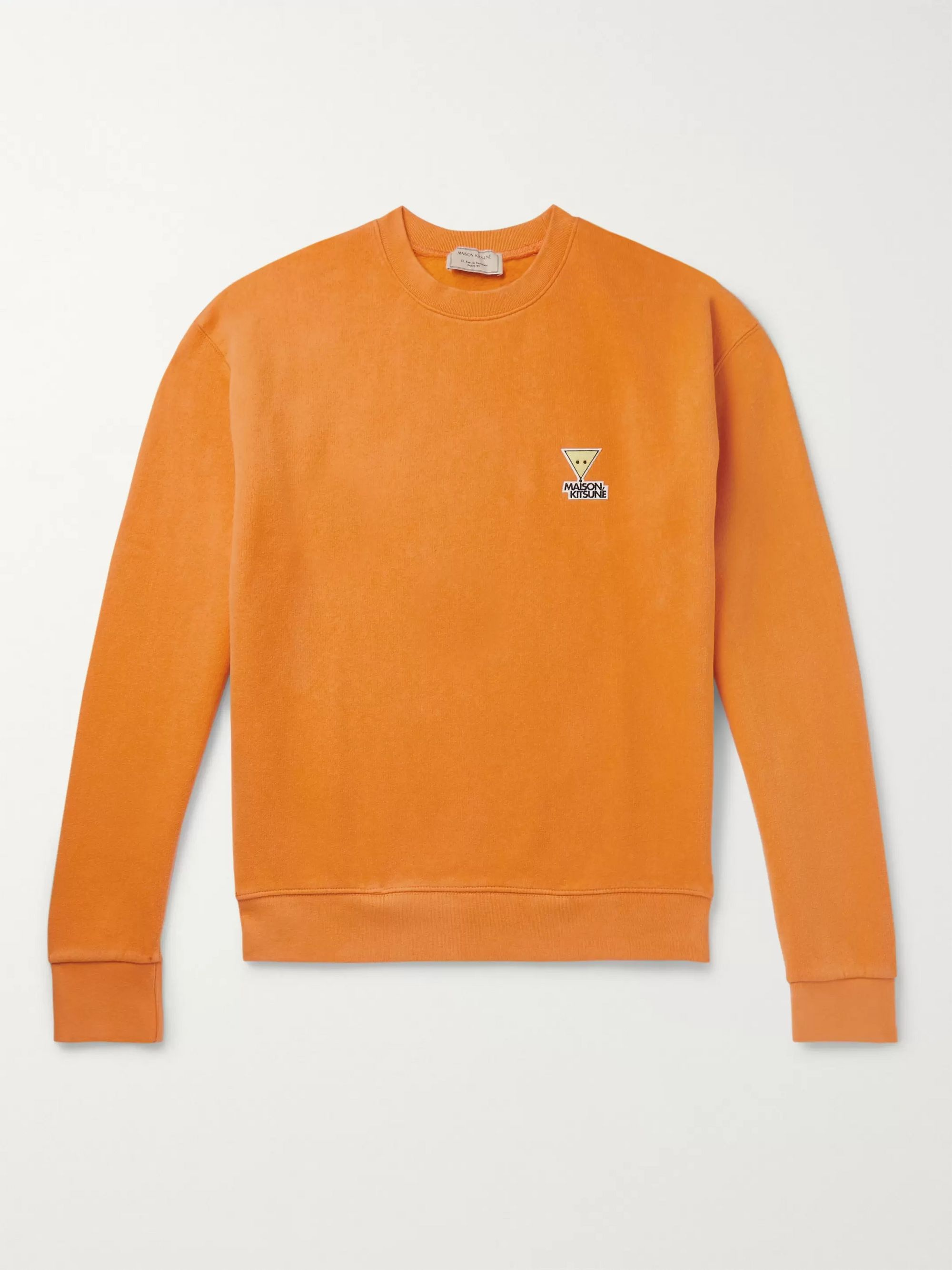 Maison Kitsuné Logo-Appliquéd Fleece-Back Cotton and Wool-Blend Sweatshirt