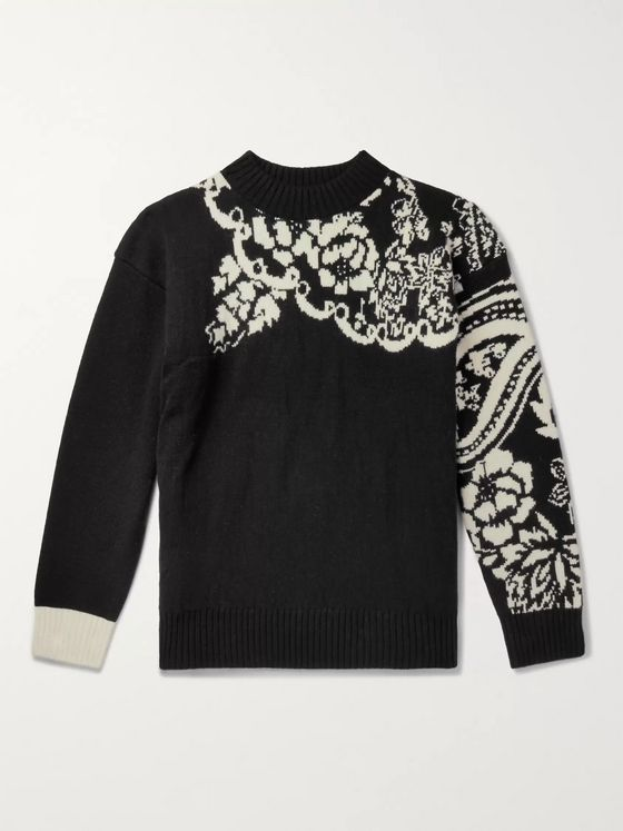 Sacai Intarsia Wool-Blend Sweater