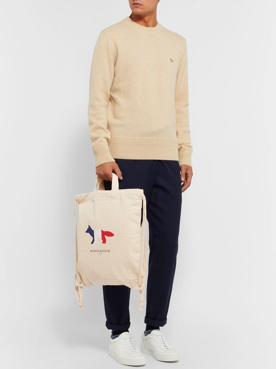 Maison Kitsuné Logo-Print Canvas Backpack
