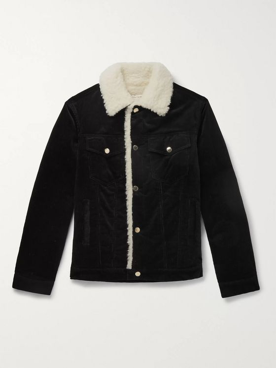Maison Kitsuné Slim-Fit Faux Shearling-Trimmed Cotton-Corduroy Trucker Jacket