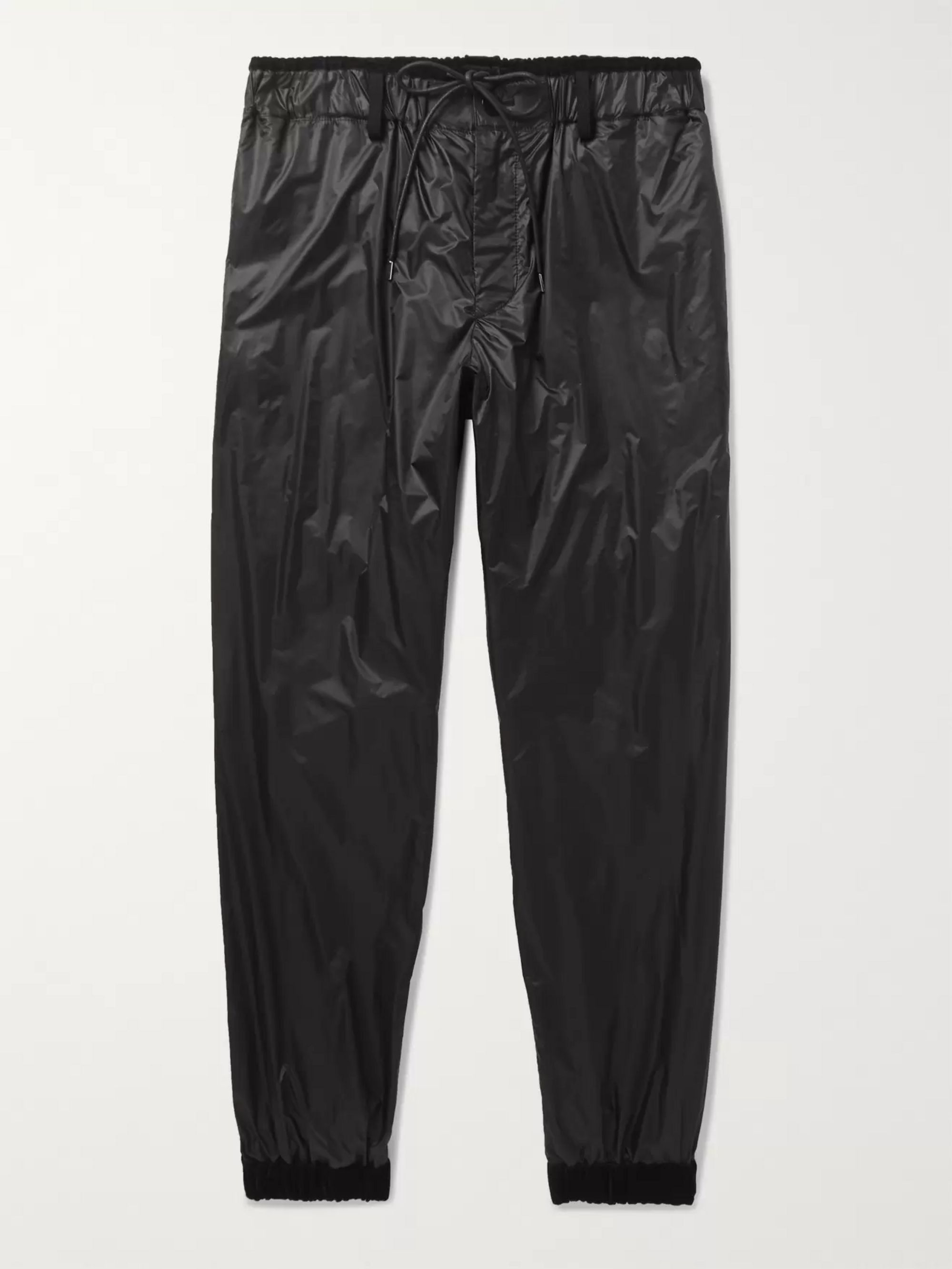 Sacai Tapered Velvet-Trimmed Shell Track Pants