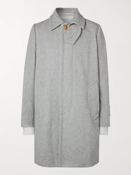 Sacai Layered Melton Wool-Blend Coat