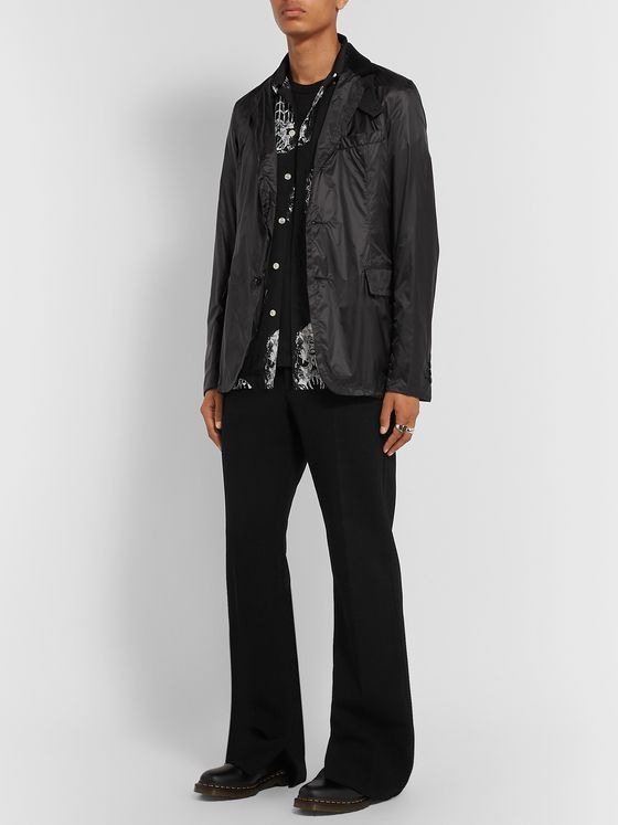 Sacai Black Slim-Fit Velvet and Wool-Trimmed Nylon Blazer