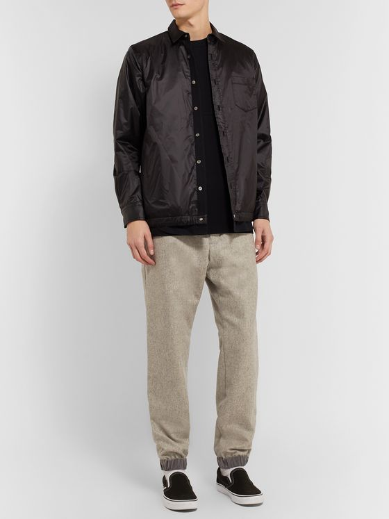 Sacai Slim-Fit Tapered Mélange Melton Wool-Blend Trousers