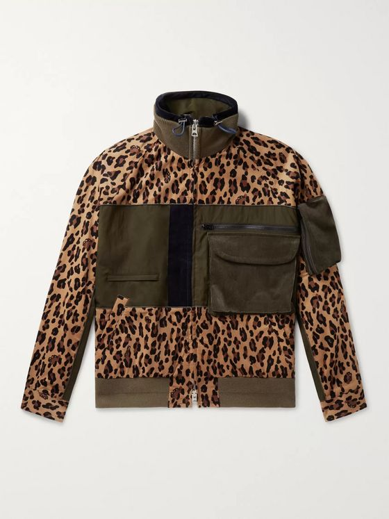 Sacai Panelled Leopard-Print Corduroy and Cotton-Blend Jacket