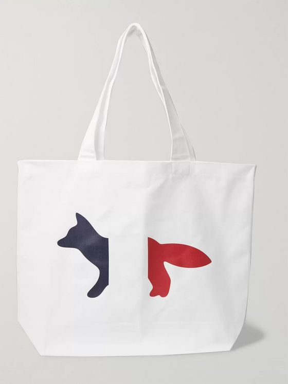 Maison Kitsuné Logo-Print Cotton-Blend Twill Tote Bag