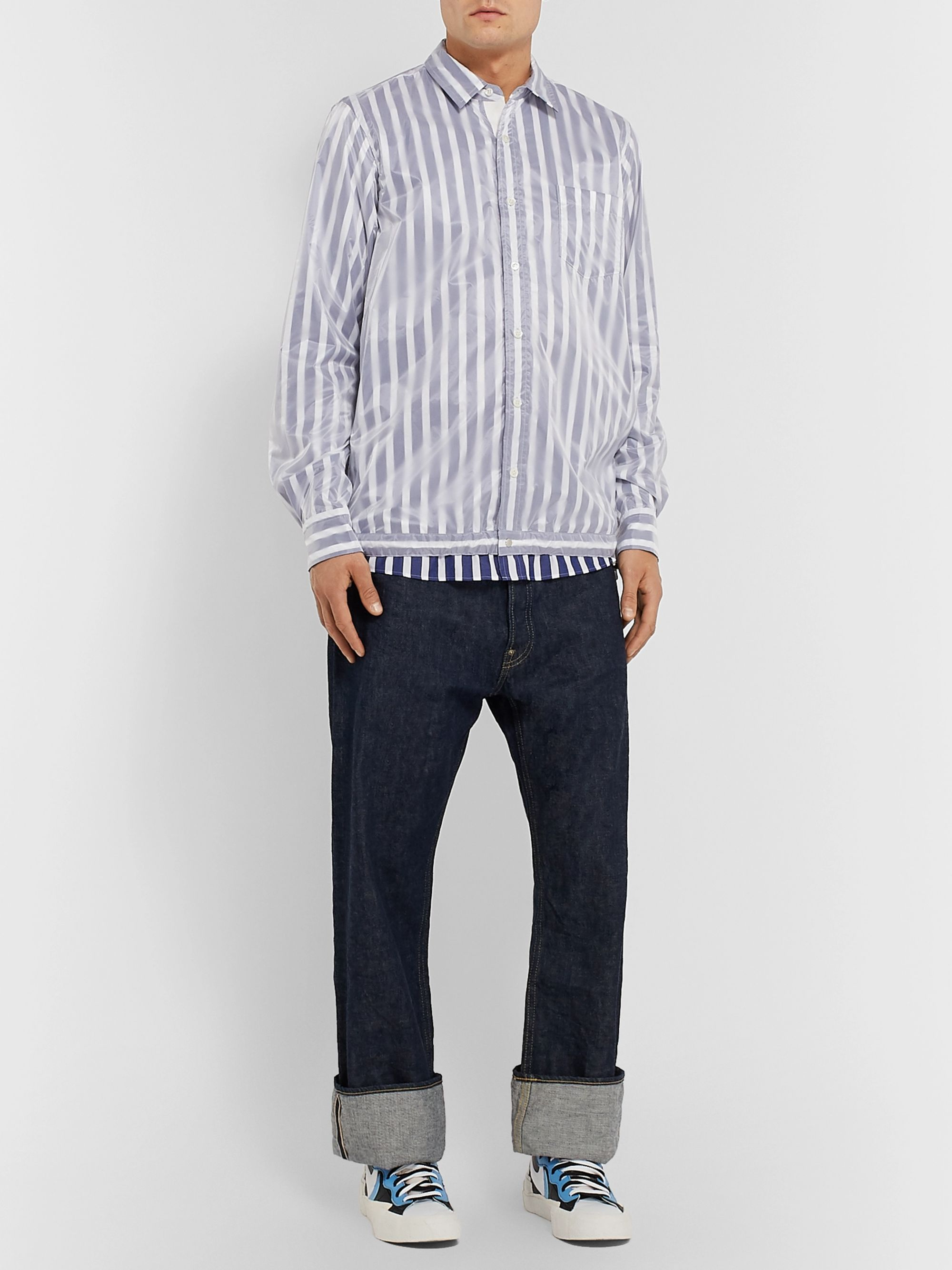 Sacai Layered Nylon and Striped Cotton-Poplin Shirt