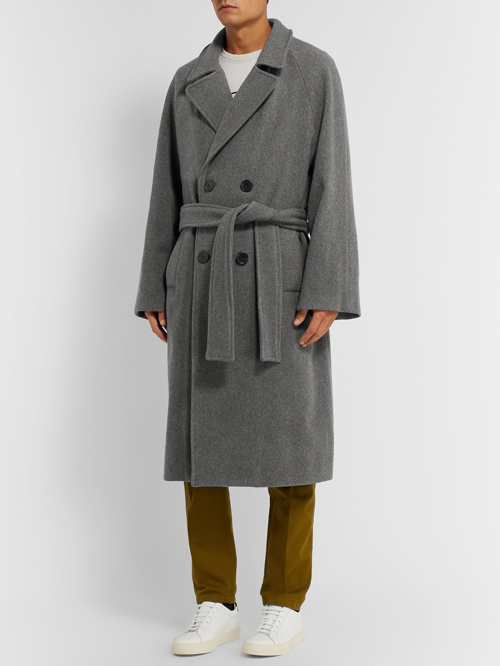 Maison Kitsuné Oversized Belted Double-Breasted Wool-Blend Coat