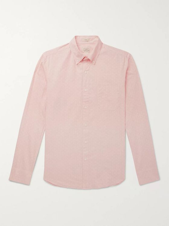 J.Crew Button-Down Collar Polka-Dot Cotton-Blend Shirt