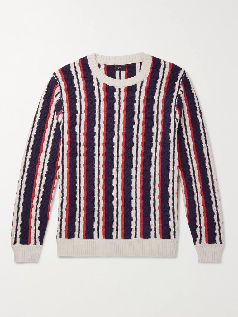 J.Crew Striped Cable-Knit Cotton Sweater