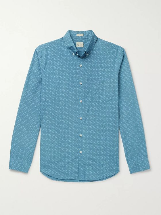 J.Crew Slim-Fit Button-Down Collar Printed Stretch-Cotton Shirt
