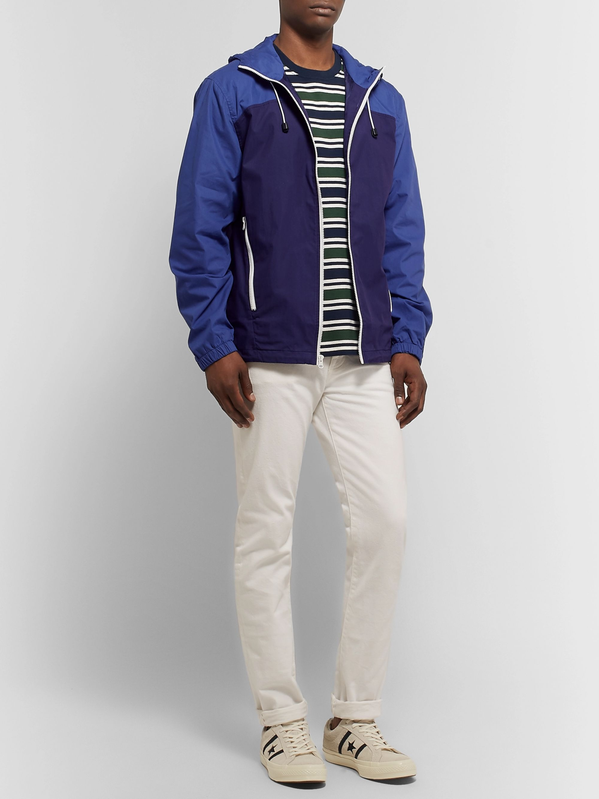 J.Crew Colour-Block Cotton and Nylon-Blend Hooded Jacket