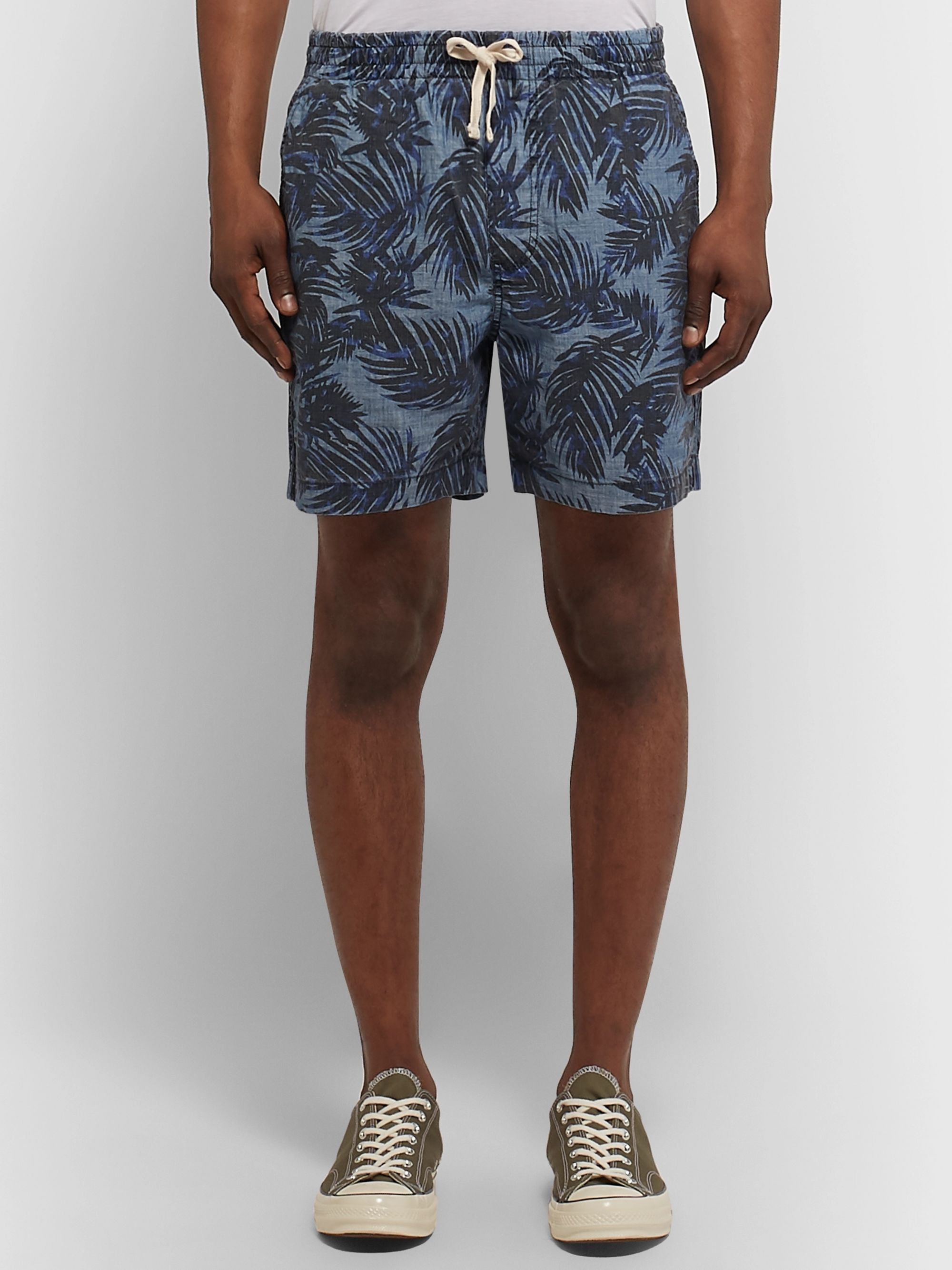 J.Crew Printed Indigo-Dyed Cotton-Chambray Drawstring Shorts