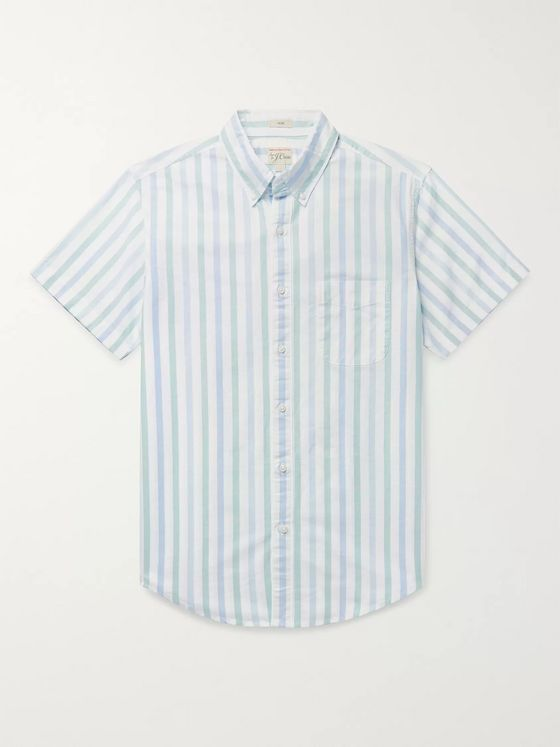J.Crew Slim-Fit Button-Down Collar Striped Pima Cotton Oxford Shirt