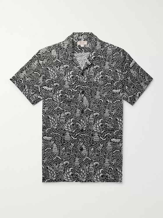 J.Crew Wallace & Barnes Slim-Fit Camp-Collar Printed Cotton-Jacquard Shirt