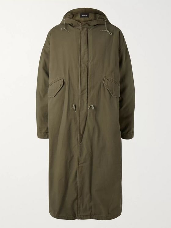 Raf Simons Oversized Shearling-Lined Cotton-Blend Hooded Parka