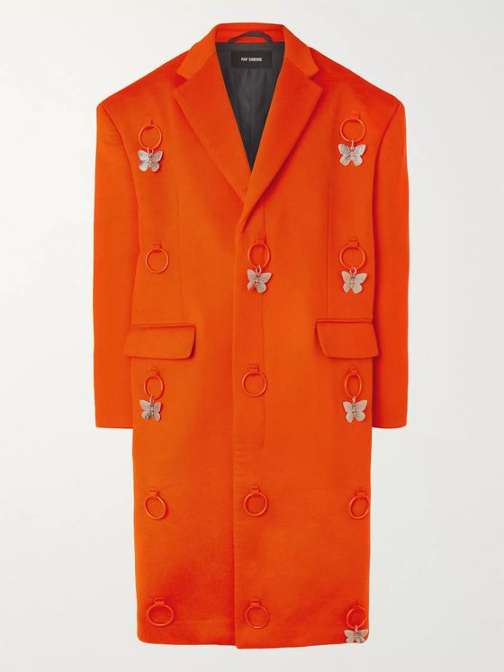 RAF SIMONS Embellished Virgin Wool and Cashmere-Blend Overcoat