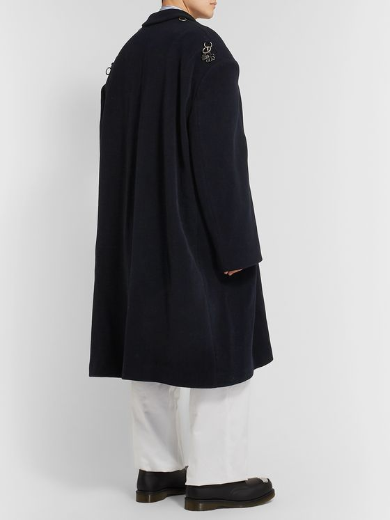 Raf Simons Oversized Embellished Herringbone Wool-Blend Coat