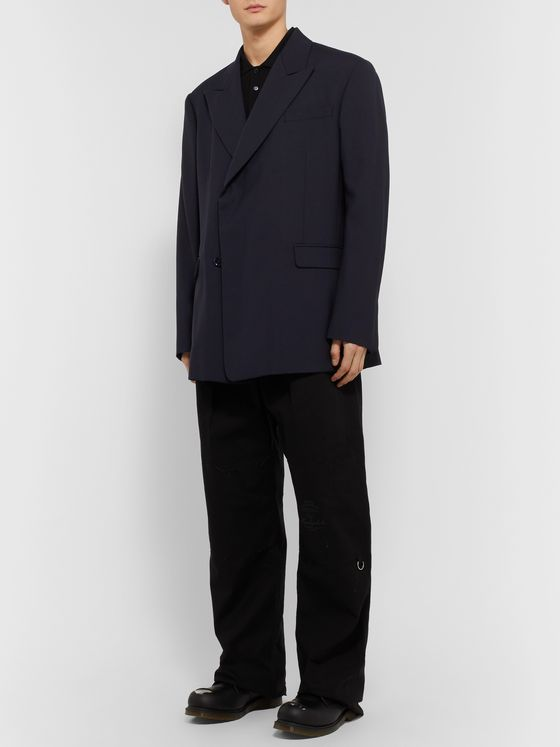 Raf Simons Navy Double-Breasted Woven Blazer