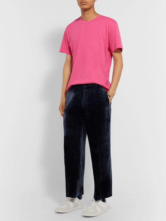 Sies Marjan Navy Alex Cropped Silk and Cotton-Blend Corduroy Trousers