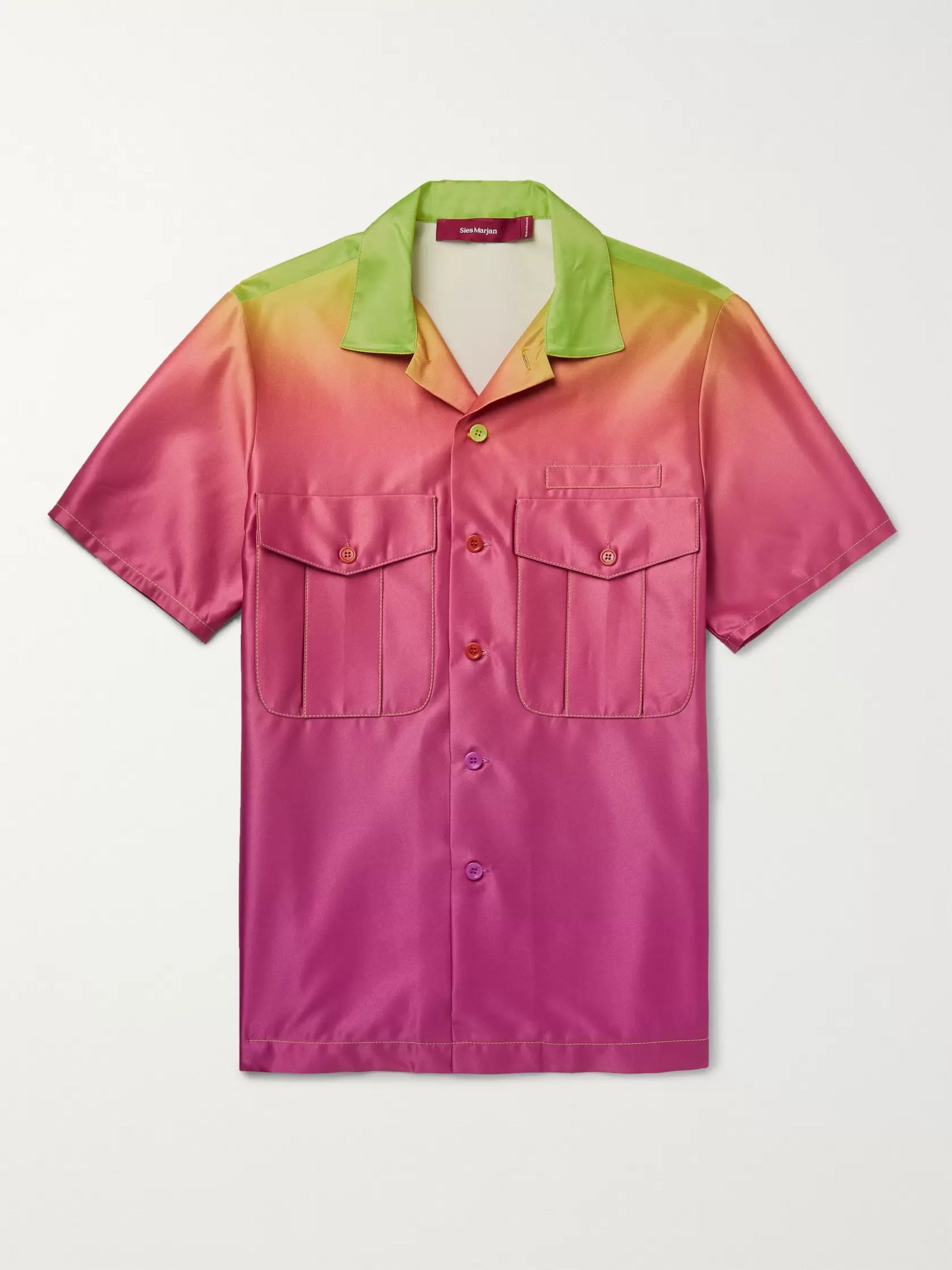 Sies Marjan Dean Camp-Collar Dégradé Satin Shirt