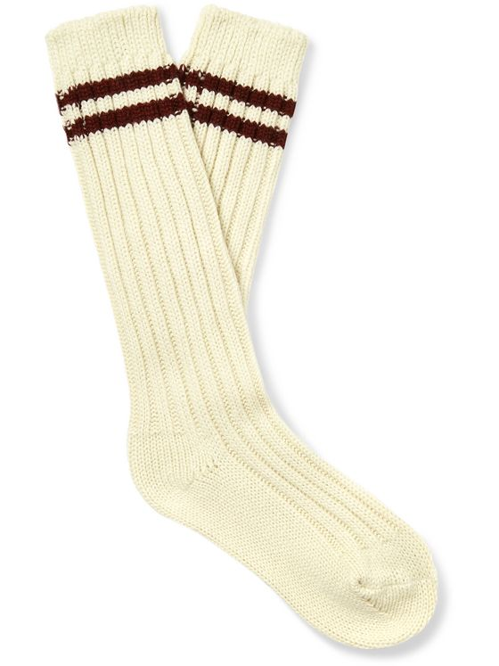 The Elder Statesman Yosemite Striped Ribbed Cashmere Socks