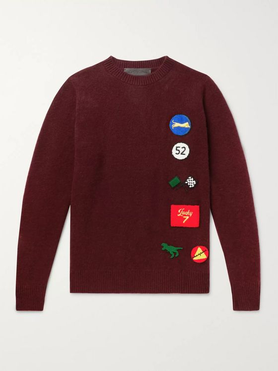 The Elder Statesman Chenille-Appliquéd Cashmere Sweater