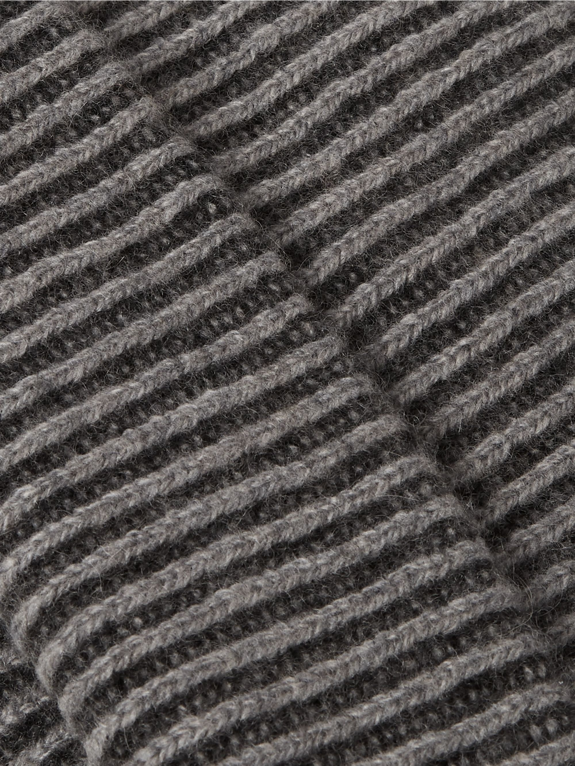 The Elder Statesman Watchman 2 Striped Ribbed Cashmere Beanie