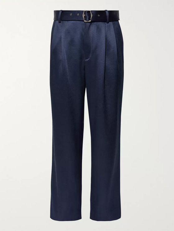 Sies Marjan Andy Pleated Satin-Twill Trousers