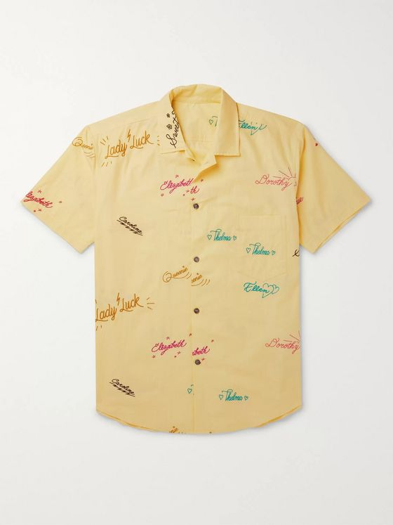 The Elder Statesman Embroidered Cotton Shirt
