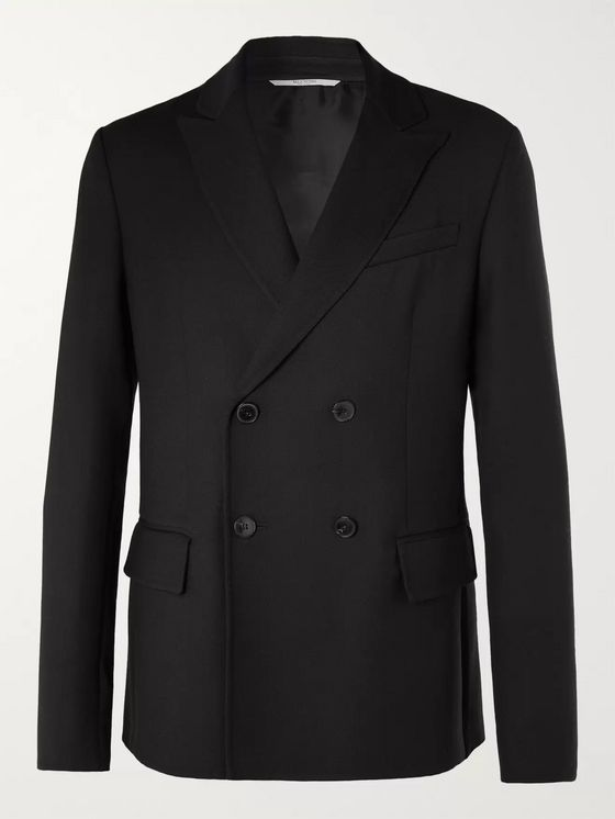 Valentino Black Double-Breasted Wool Blazer