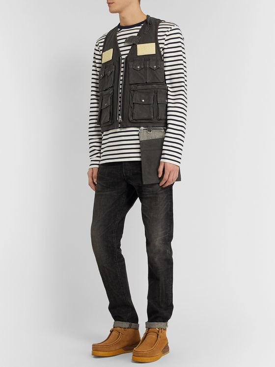 visvim Pilar Fisherman Shearling-Trimmed Cotton-Canvas Gilet