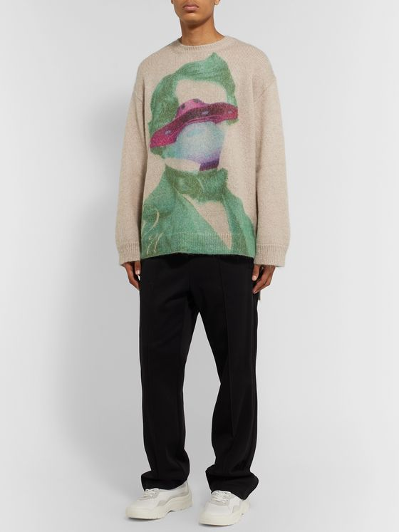 Valentino Oversized Printed Mohair-Blend Sweater
