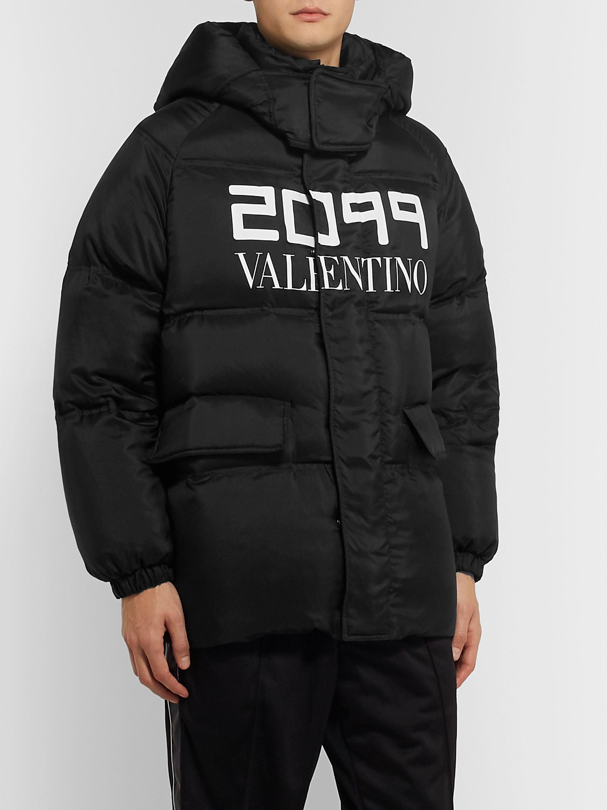Valentino Printed Quilted Silk Hooded Down Jacket