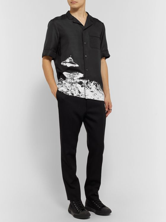 Valentino + Undercover Camp-Collar Printed Silk-Twill Shirt