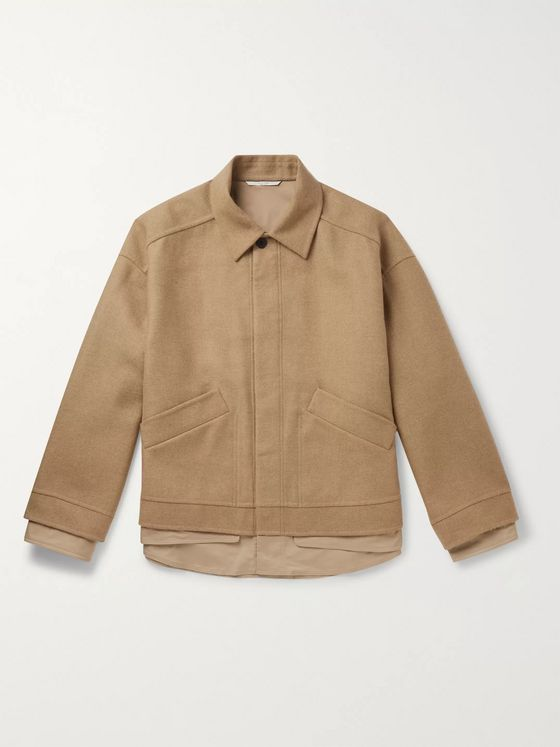 Valentino Oversized Layered Camel Hair-Bend Blouson Jacket