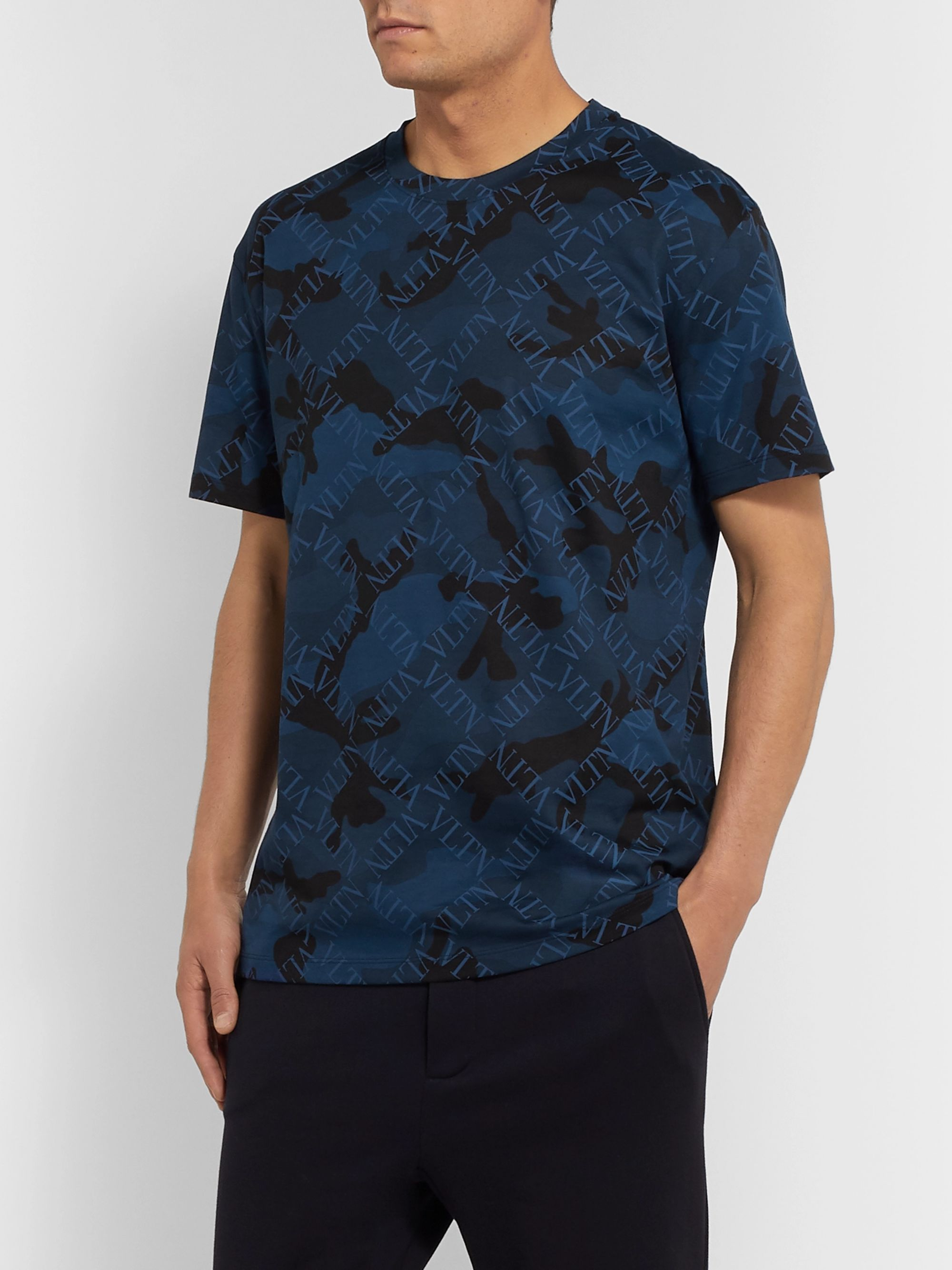 Valentino Slim-Fit Logo and Camouflage-Print Cotton-Jersey T-Shirt
