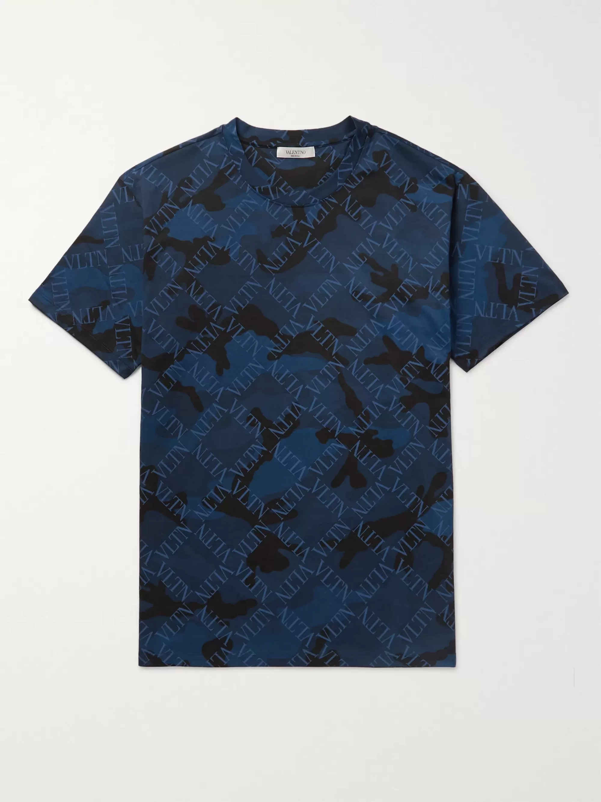 Slim Fit Logo and Camouflage Print Cotton Jersey T Shirt