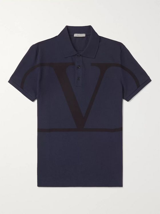 Valentino Slim-Fit Logo-Print Cotton-Piqué Polo Shirt