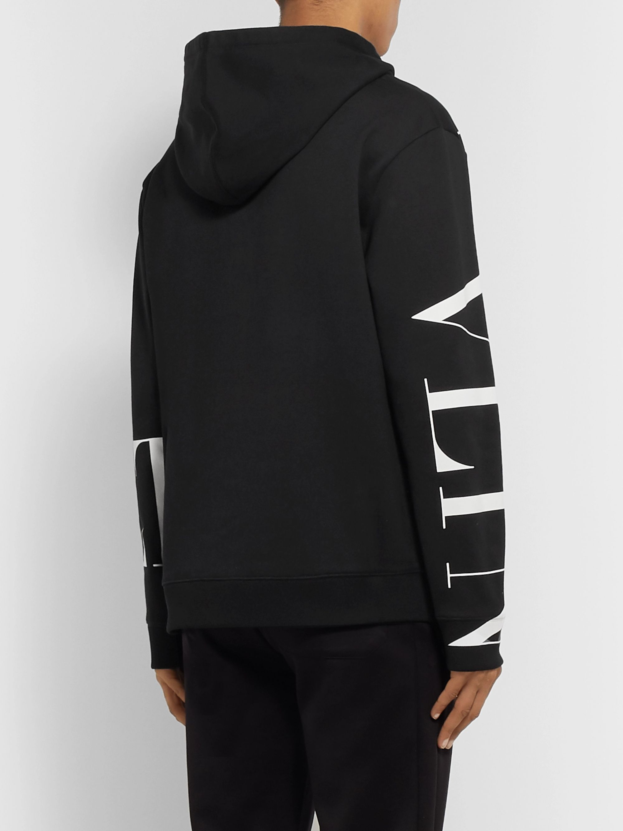 Valentino Logo-Print Loopback Cotton-Blend Jersey Hoodie