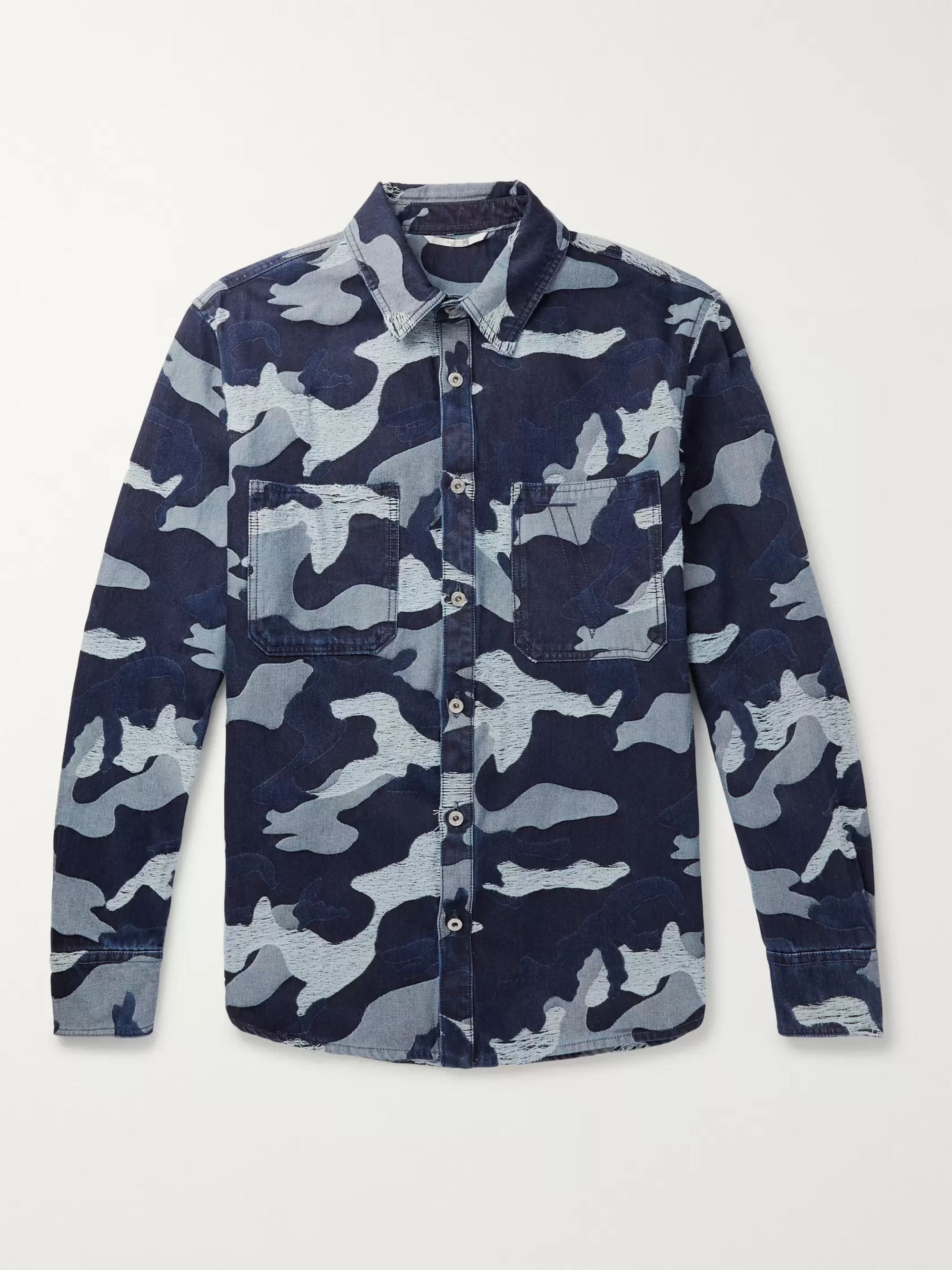 Valentino Distressed Camouflage-Jacquard Denim Overshirt